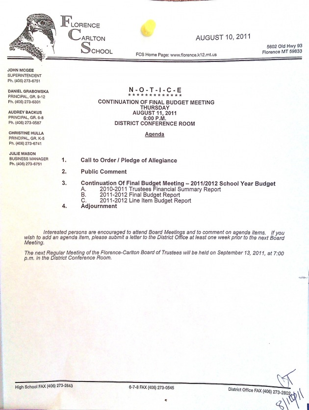 FCSBM|August 9, 2011|Continuation fo Final Budget Meeting
