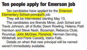 Florence Carlton Superintendent Interviews for Emerson Elementary Job
