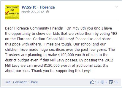 PASS IT - FLORENCE Description We are People Actively Supporting Schools In our Town - Florence. We welcome supportive posts and will only accept posts from individuals who identify themselves. We will NOT accept anonymous posts.